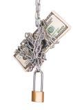 Padlock with dollars Royalty Free Stock Image