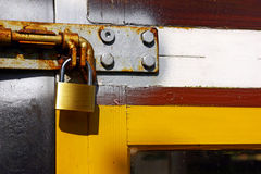 Padlock in door Stock Image