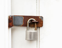Padlock on door Stock Image