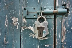 Padlock and door Stock Photo