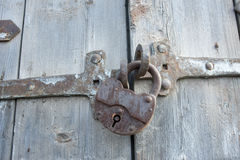 Padlock on the door. Stock Photo