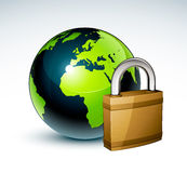 Padlock and Earth globe Stock Image