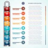 Padlock with eight keyholes and keys Royalty Free Stock Photo