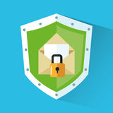 Padlock and envelope inside shield design Stock Images