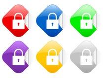 Padlock etiquetas quadradas Fotos de Stock Royalty Free