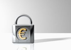 Padlock With Euro Symbol Royalty Free Stock Images