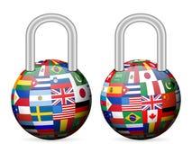 Padlock flags globe Royalty Free Stock Image