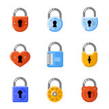Padlock flat icons. Lock vector signs Royalty Free Stock Photo