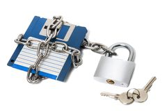 Padlock with floppy disk Stock Photos