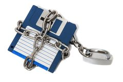 Padlock with floppy disk Stock Images
