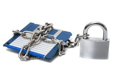 Padlock with floppy disk Royalty Free Stock Image