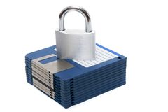 Padlock with floppy disks Stock Image
