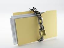 Padlock on folder. Image of Padlock on folder, 3d Illustration. isolated white Royalty Free Stock Photos