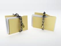Padlock on folder. 3d Illustration Royalty Free Stock Photo