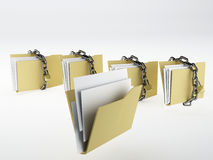 Padlock on folder. 3d Illustration Stock Photos