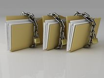 Padlock on folder, 3d Illustration Stock Photos