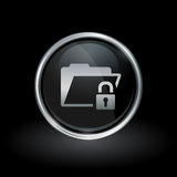 Padlock and folder icon inside round silver and black emblem. Secure document symbol with folder and padlock icon inside round chrome silver and black button Stock Photo