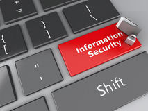 Padlock, folder and Information Security on computer keyboard. Stock Images