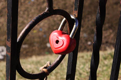 Padlock in the form of heart. Padlock in the shape of heart as a symbol of eternal love royalty free stock photography