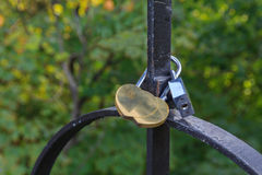 Padlock in the form of two gold hearts Stock Images