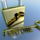 Padlock With Fortune Key Showing Luck Success And Riches Royalty Free Stock Photos