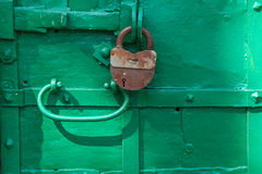 Padlock on the gate, Uglich, Russia Stock Photo