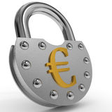 Padlock with golden euro symbol. Stock Photos