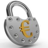 Padlock with golden euro symbol. Padlock with golden euro symbol on white background. 3D illustration Stock Photos