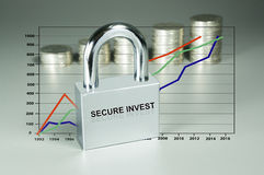 Padlock, Graph and Coins in the background Royalty Free Stock Images