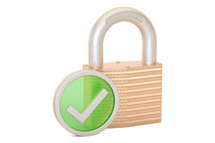 Padlock with green check mark, security payment concept. 3D rend Stock Photography