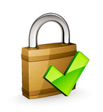 Padlock with green tick mark Royalty Free Stock Photo