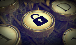 Padlock on Grunge Typewriter Key. Royalty Free Stock Photography