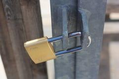 Padlock hanging on the metal door Stock Image