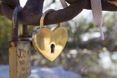 Padlock with a heart Stock Photo