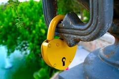 Padlock. With heart form in Ciutadella park (Barcelona Stock Image