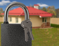 Padlock with house. On background, protection of housing concept Stock Image
