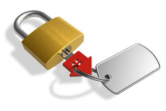 Padlock with house-shape key Stock Photography
