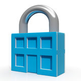 Padlock And House Showing Building Security Stock Photos