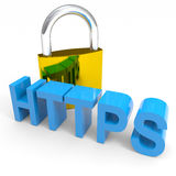 Padlock and HTTPS word. Internet safety concept. Royalty Free Stock Photos