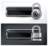 Padlock icon on black & white Royalty Free Stock Photos