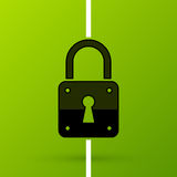 Padlock icon in flat style on fresh green background Stock Photo