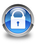 Padlock icon glossy blue round button Stock Photo