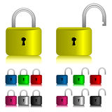 Padlock icon set Stock Photos