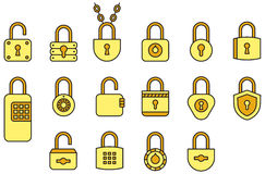 Padlock icon set. Set of gold padlock icons on white Royalty Free Stock Images