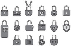 Padlock icons. A set of various combination and keyed padlocks in line art style Royalty Free Stock Photo