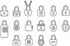 Padlock icons. A set of various keyed and combination locks in line art style Stock Photos