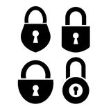 Padlock icons set Stock Photos