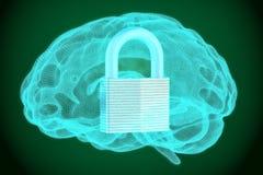 Padlock il cervello interno, sicurezza e protegga il concetto, la rappresentazione 3D Immagine Stock