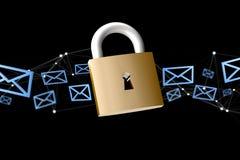 Padlock il collegamento di sicurezza circondato per posta isolato su un passo Royalty Illustrazione gratis