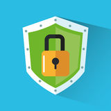 Padlock inside shield design Royalty Free Stock Photos